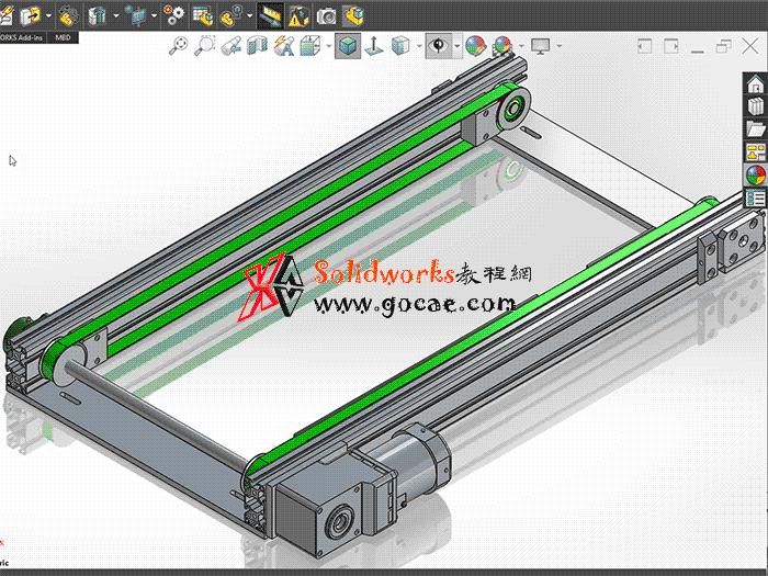 每日一练:#49 铝型材 输送带 solidworks 视频教程