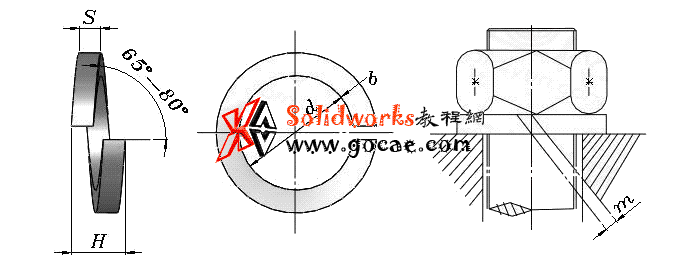 solidworks 标准件 #66 轻型弹簧垫圈 GB╱T 859 外形尺寸 solidworks 3D模型 三维零件库 最新标准查询