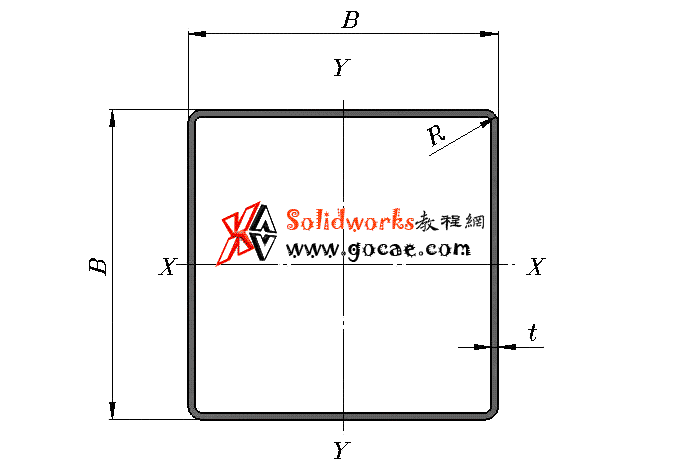 solidworks 标准件 #76 冷弯空心型钢/方形管 GB╱T 6728 2017 外形尺寸 solidworks 3D模型 三维零件库 最新标准查询