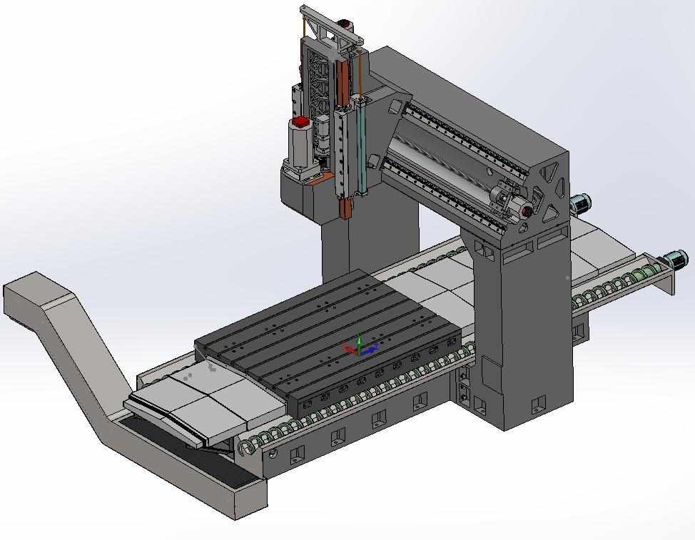 详细数控龙门加工中心/铣床3D图纸 结构设计讲解视频